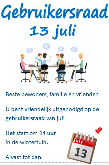 Gebruikersraad 13 juli