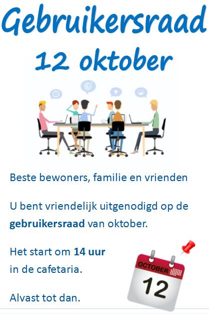 Gebruikersraad 12 oktober