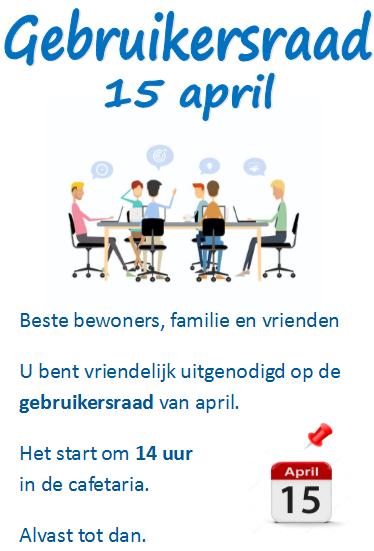 Gebruikersraad 15 april