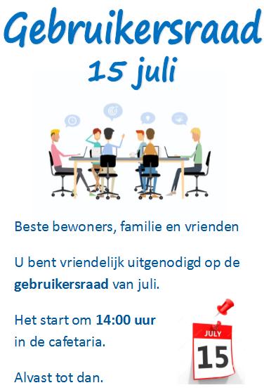 Gebruikersraad 15 juli
