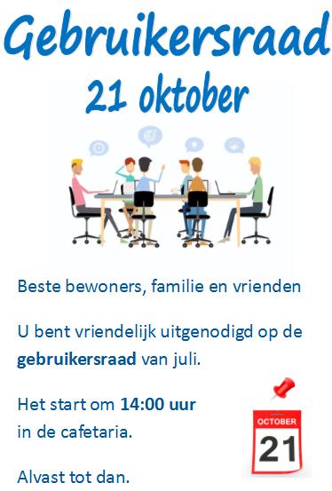 Gebruikersraad 21 oktober