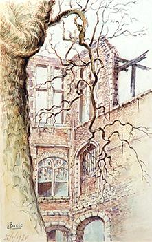 Stan Baele (kunstschilder) - Verbrande Bibliotheek St Paulus 1