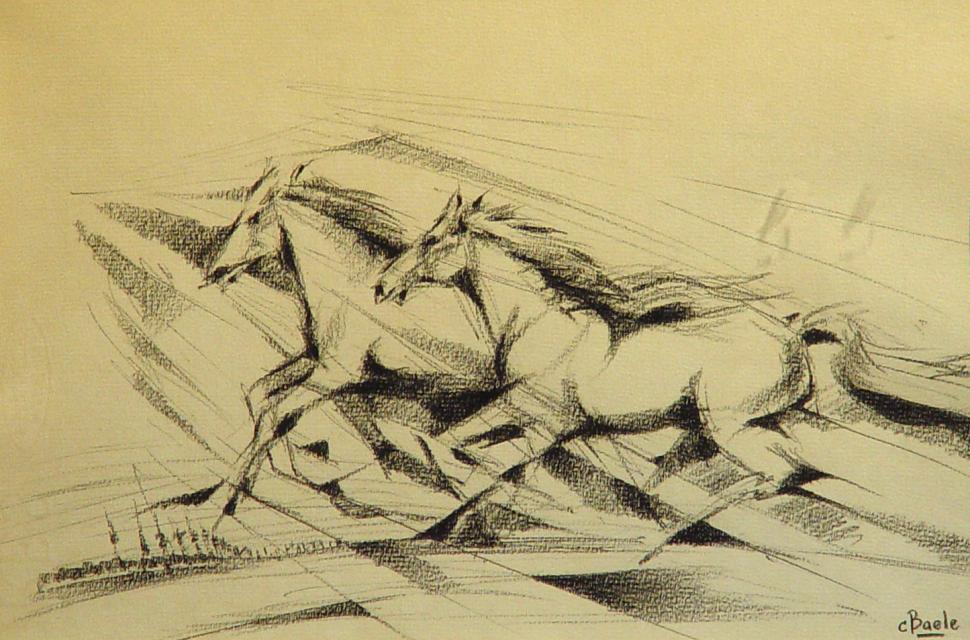 Stan Baele (kunstschilder) - Paarden in Gallop