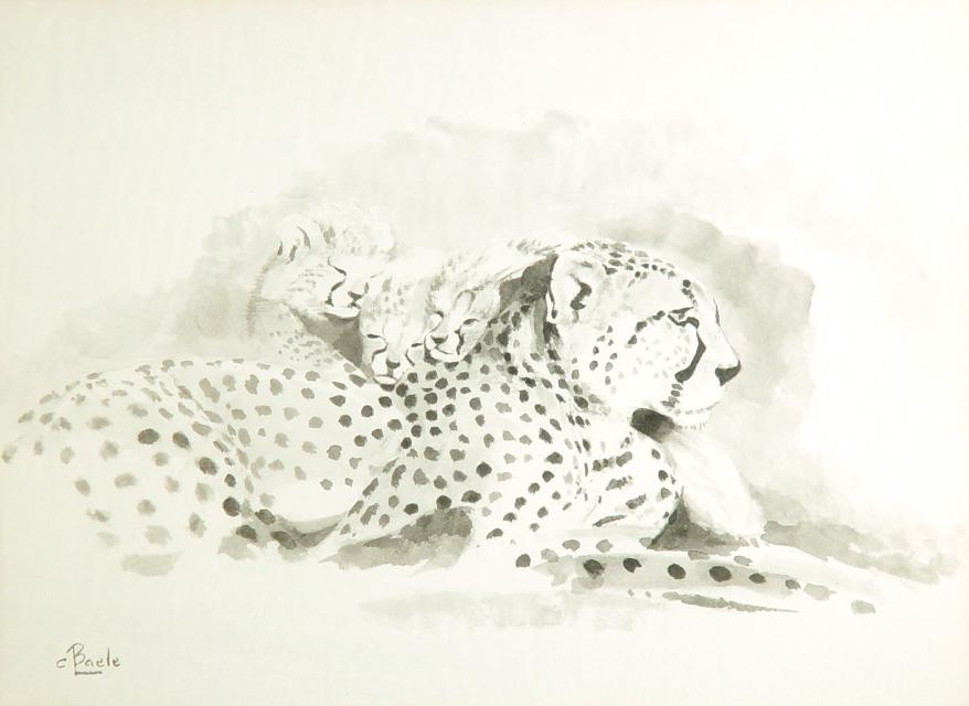 Stan Baele (kunstschilder) - Cheetah met Jongen