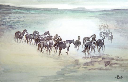 Stan Baele (kunstschilder) - Paarden in Morgenlicht