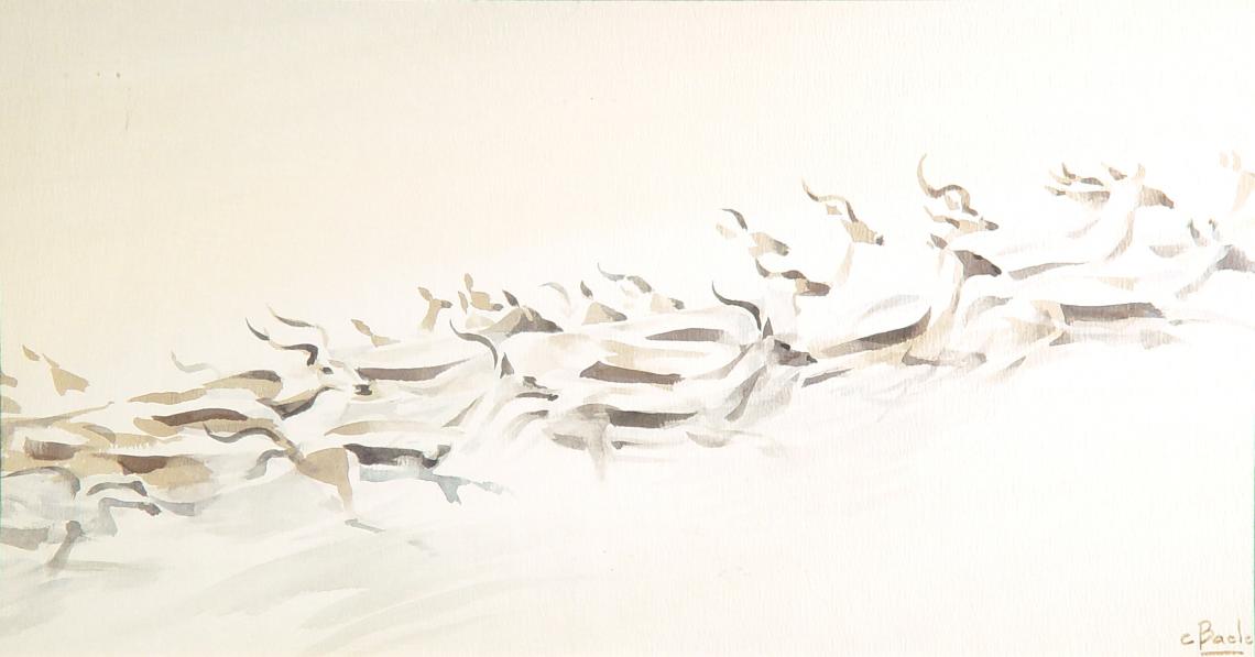 Stan Baele (kunstschilder) - Gazellen op de Vlucht