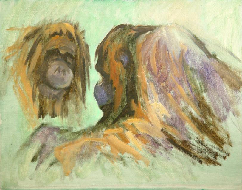 Stan Baele (kunstschilder) - Ontmoeting (Orangs)