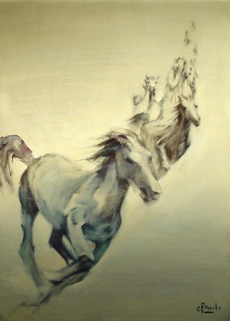 Stan Baele (kunstschilder) - Dravende Paarden