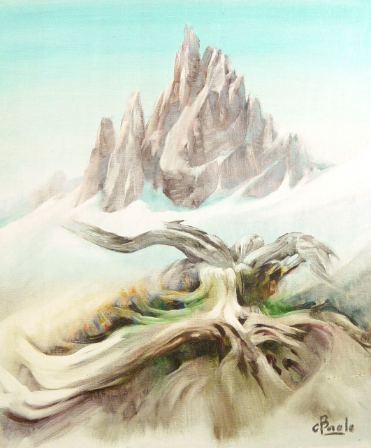 Stan Baele (kunstschilder) - Sneeuwgrens - Boomstronk
