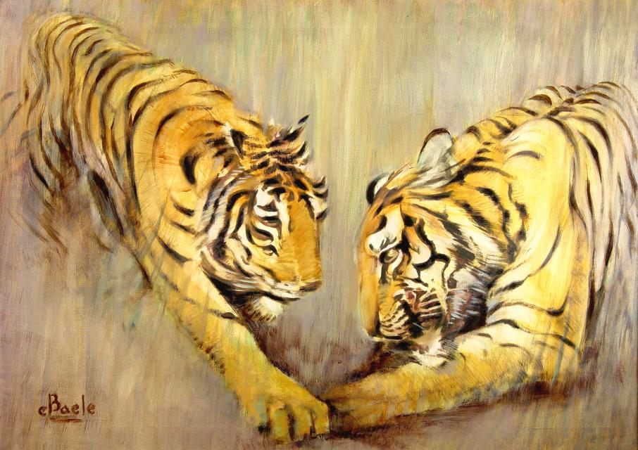 Stan Baele (kunstschilder) - Spelende Tijgers